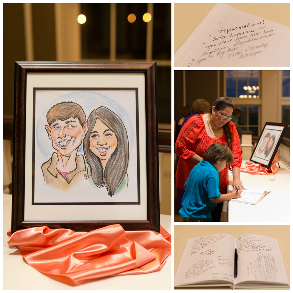 caricature and wedding guest book