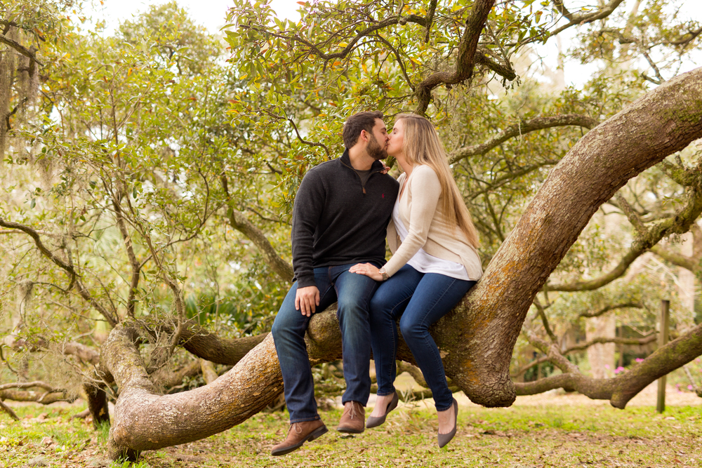 romantic engagement photo, kissing in live oak tree, by Uninvented Colors Photography (Ocean Springs, Mississippi)