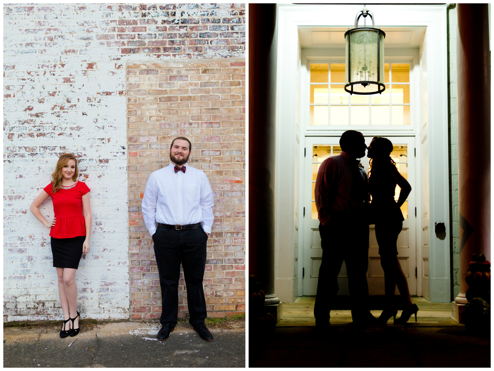 downtown Ocean Springs engagement session with brick wall, silhouette (Uninvented Colors Photography)