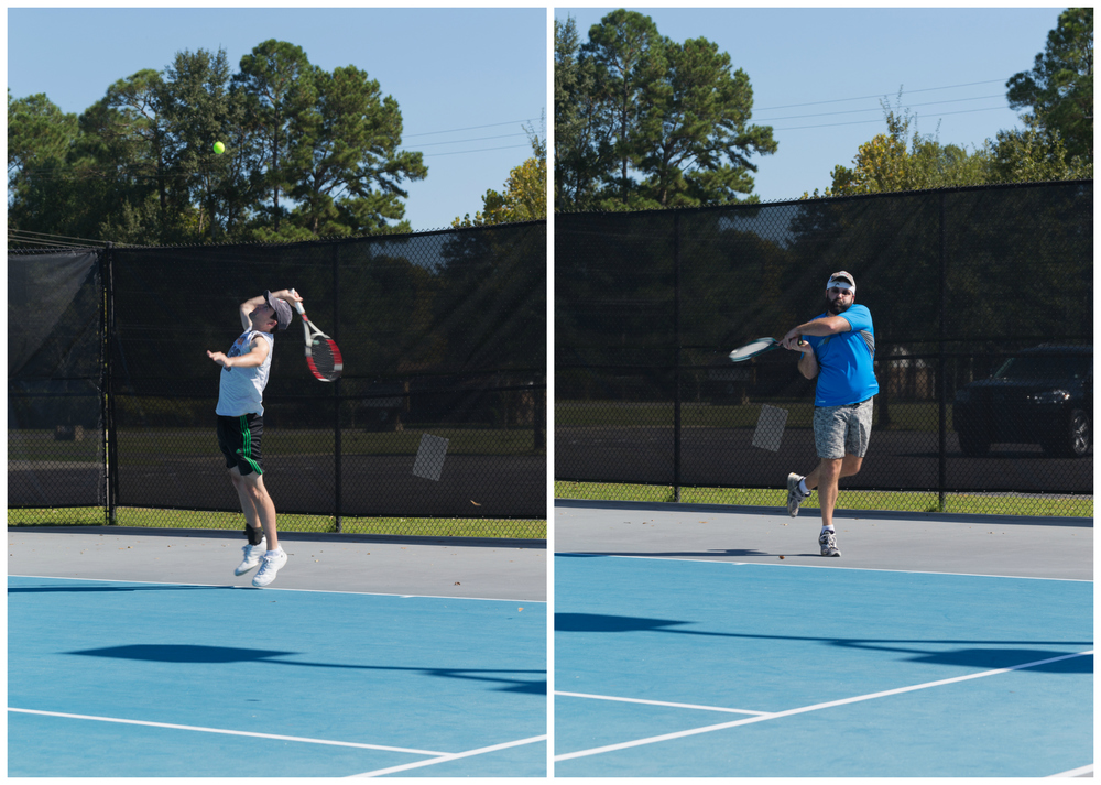 two guys playing tennis at Ocean Springs public courts