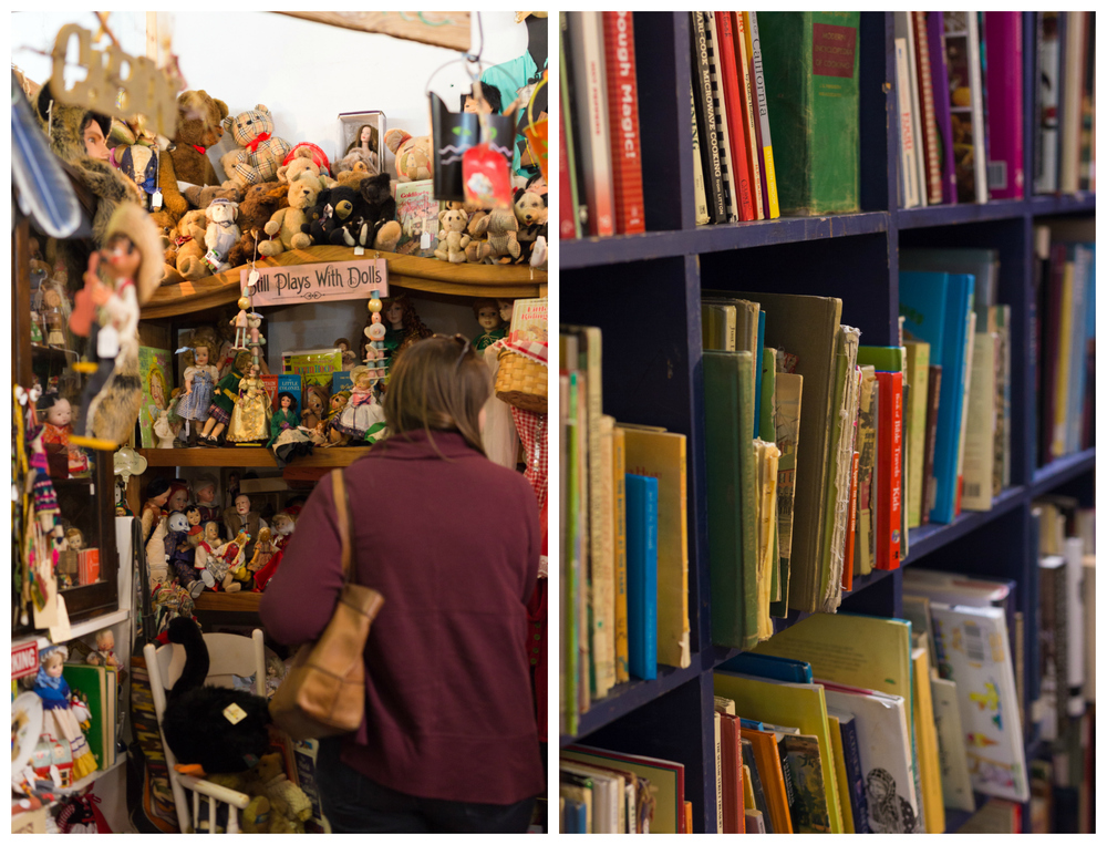 dolls and books in antique store in Bay St. Louis, Mississippi