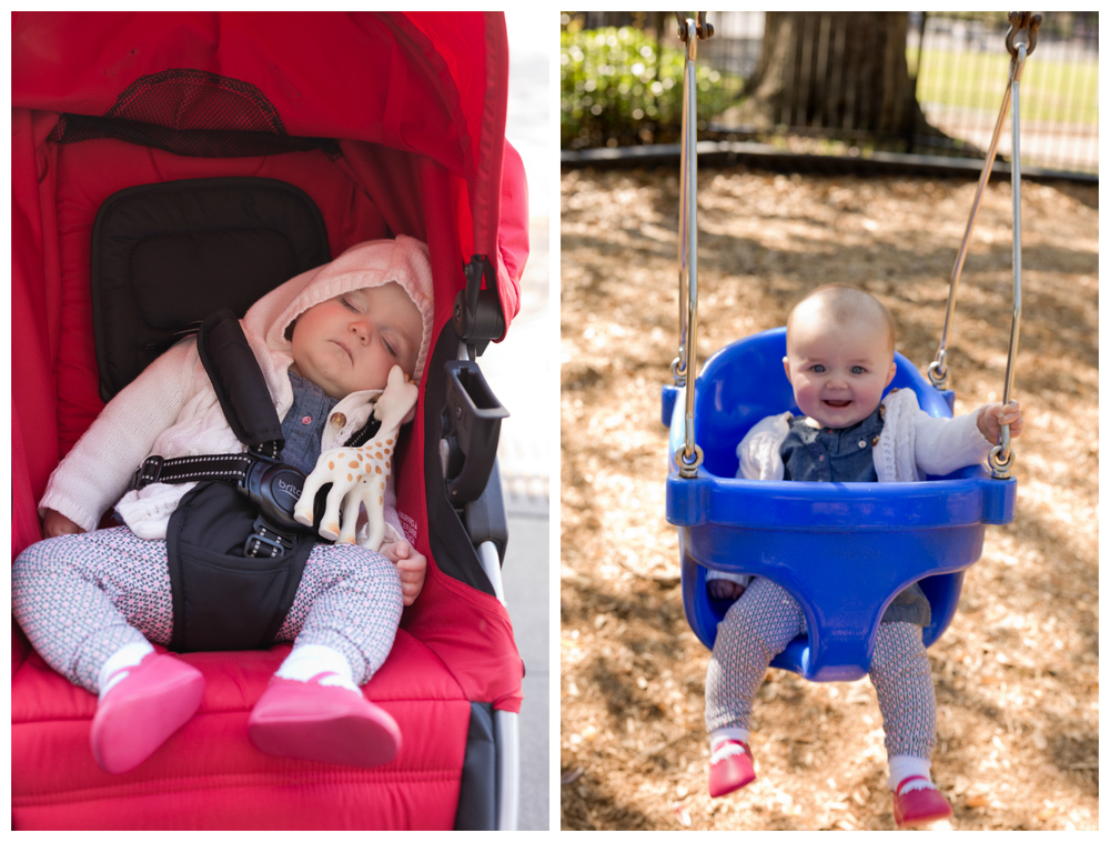 baby girl napping in stroller, swinging at Little Children's Park In Ocean Springs