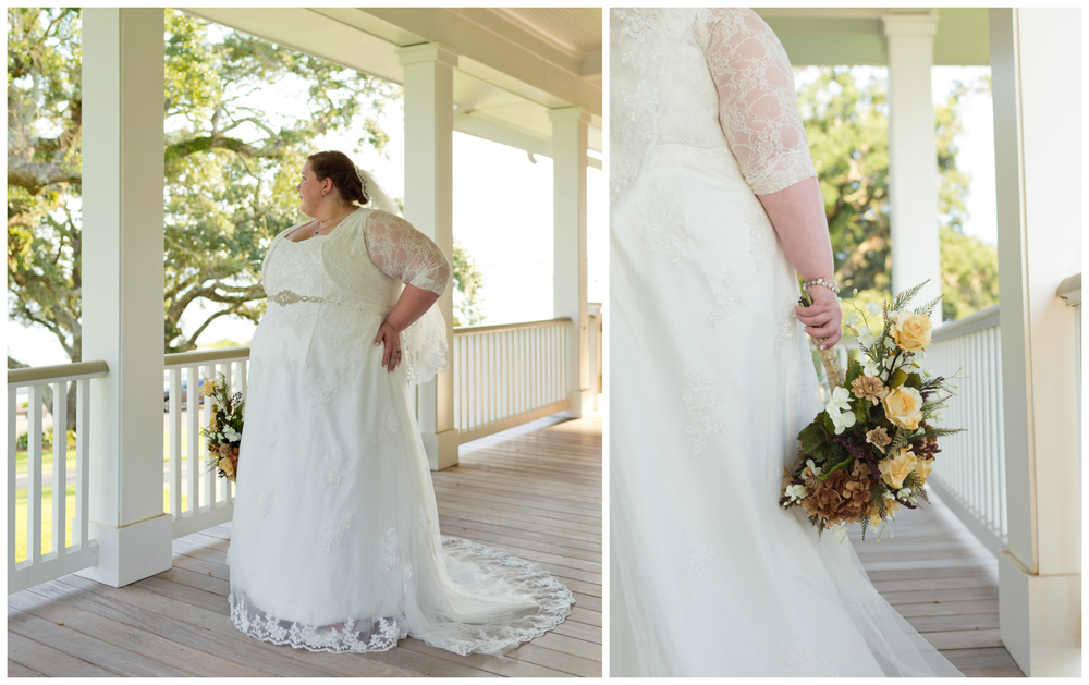 bride in lace gown with fall bouquet