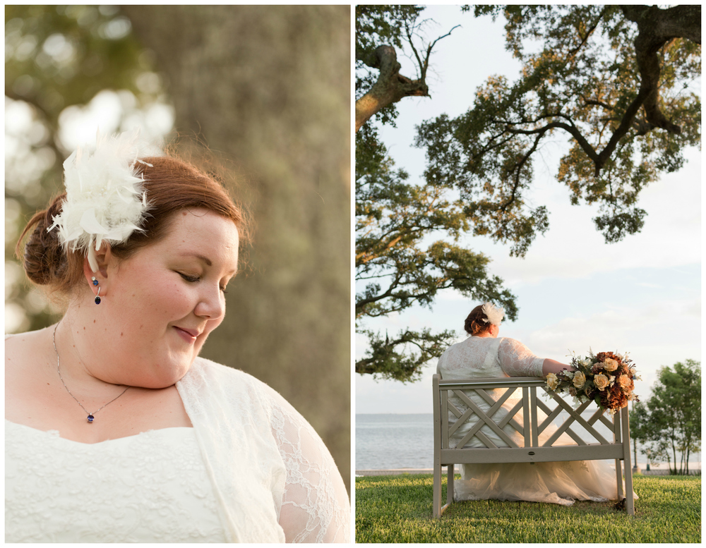 bridal portraits with bench, live oak, beach (Ocean Springs wedding photographer)