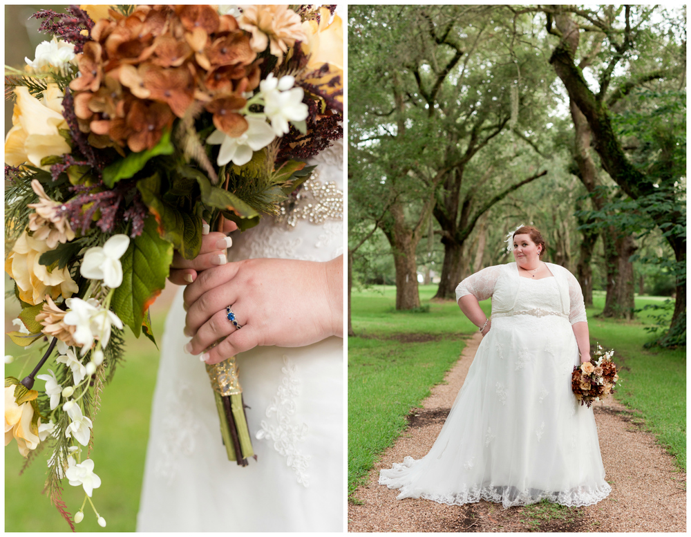 nature-inspired bridal portraits with tree branches and autumn bouquet