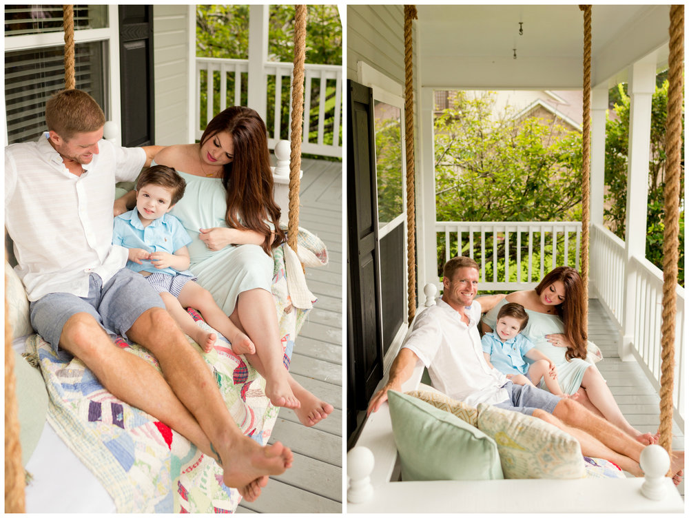 lifestyle family photo on front porch (Ocean Springs photographer)