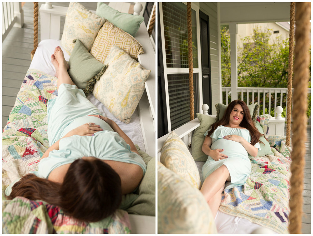 maternity photo on front porch with vintage quilt