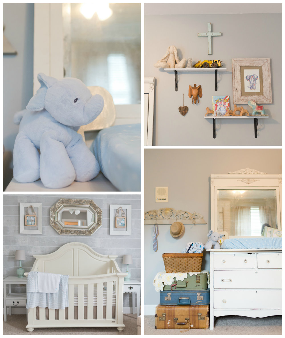 baby boy nursery with vintage suitcases, elephants, cross
