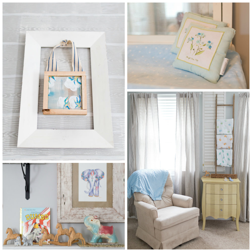 baby boy nursery details (handmade art, forget-me-not pillows, elephants, nursing chair)