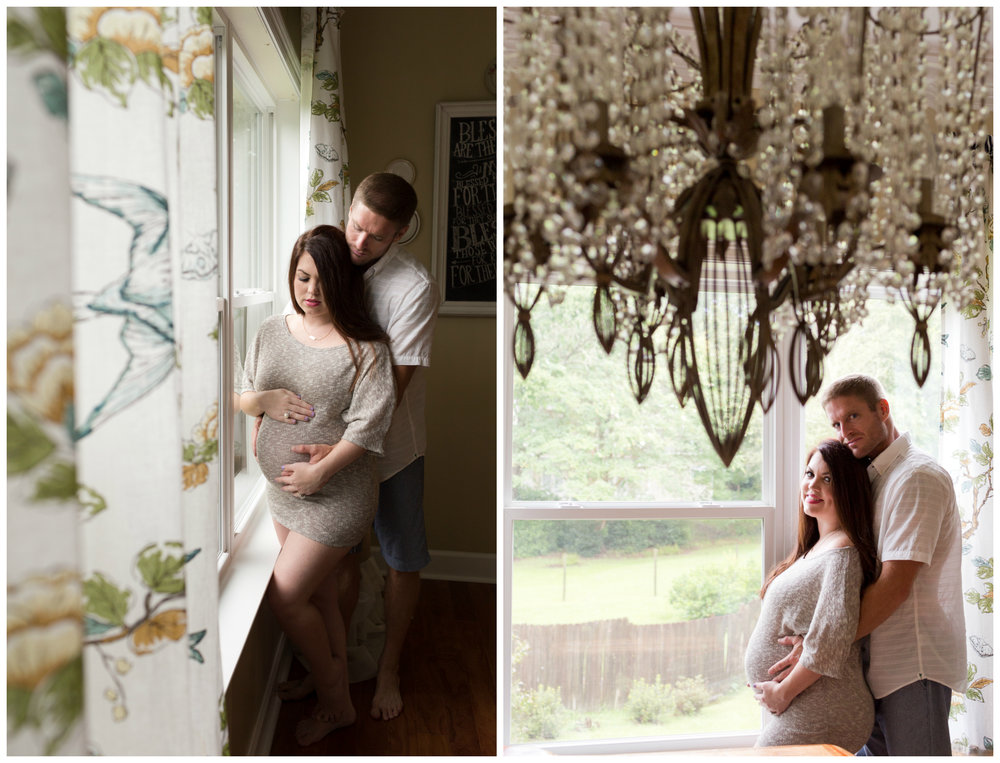 romantic maternity photos by dining room window
