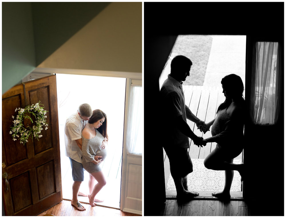 romantic maternity photos in doorway (silhouette)