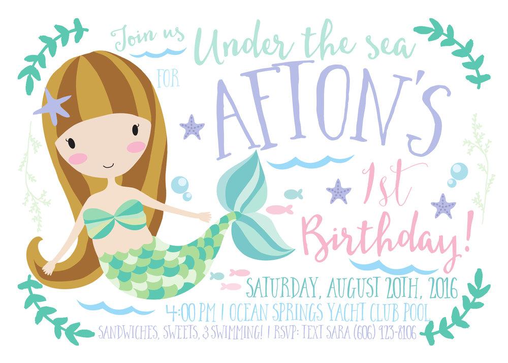 baby girl mermaid birthday invitation by INVITEDbyAudriana on Etsy