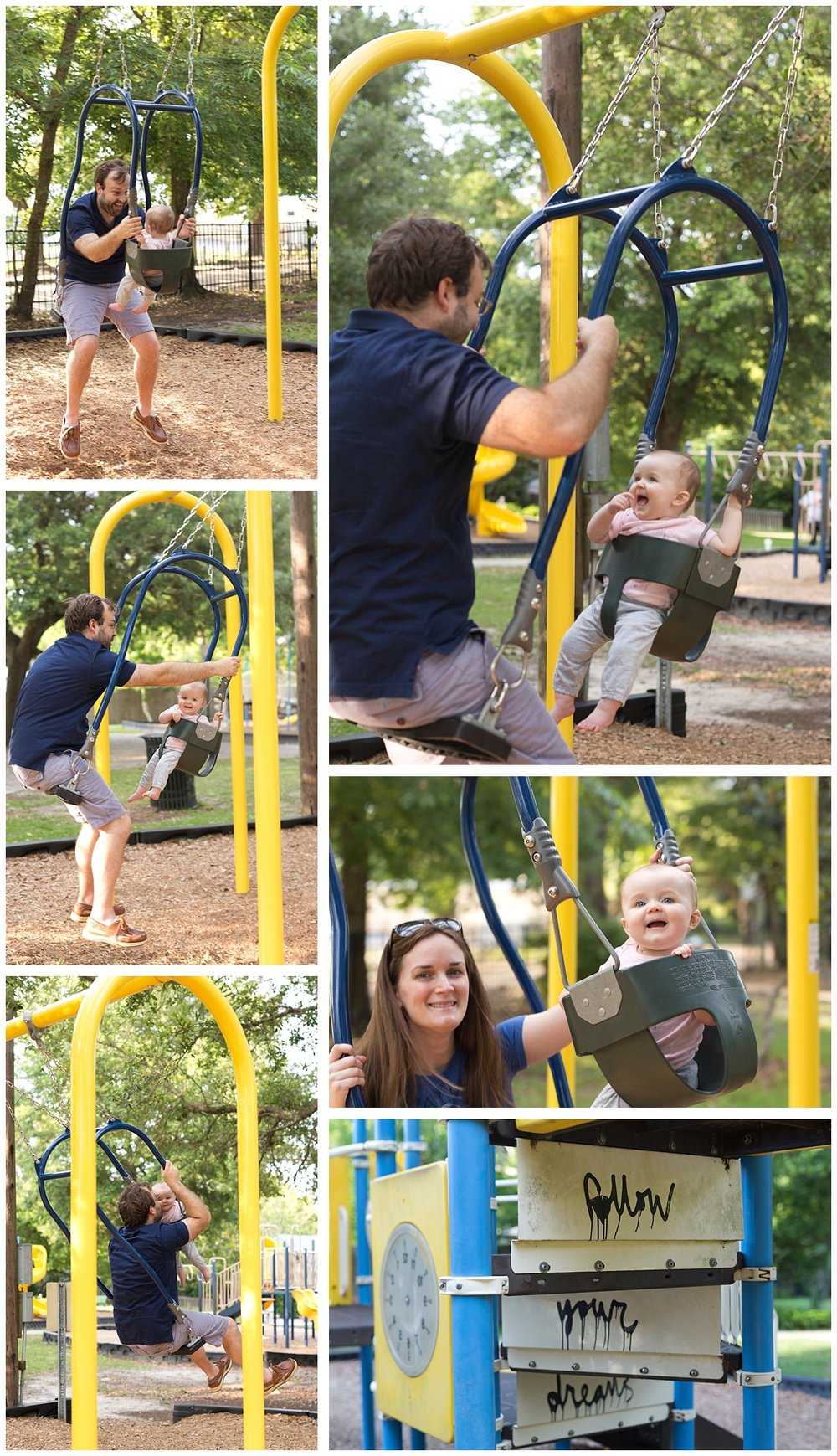 baby girl swinging with parents at Little Children's Park in Ocean Springs