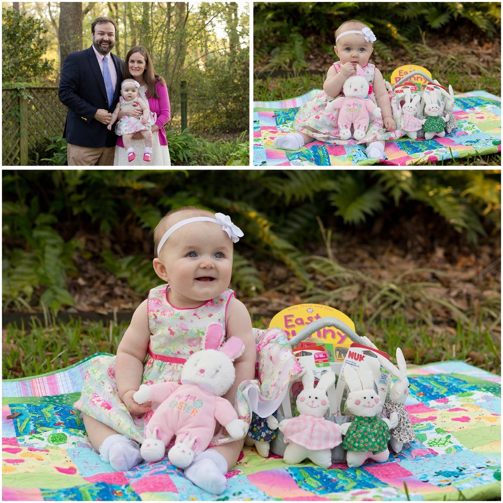 cute baby girl's first Easter (with parents, in Easter dress with Easter basket)