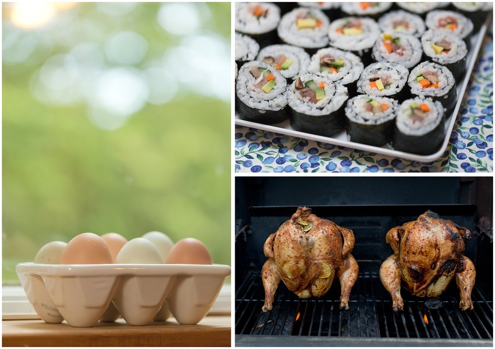 eggs, sushi, whole chickens (food photos)