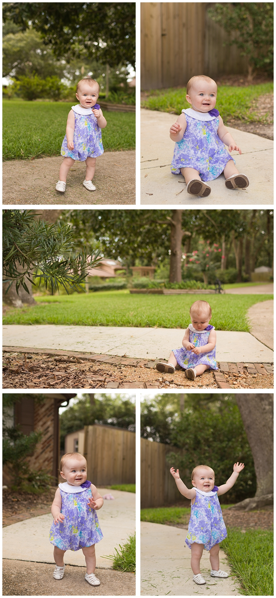 portraits of cute one-year-old girl in front yard with purple floral dress