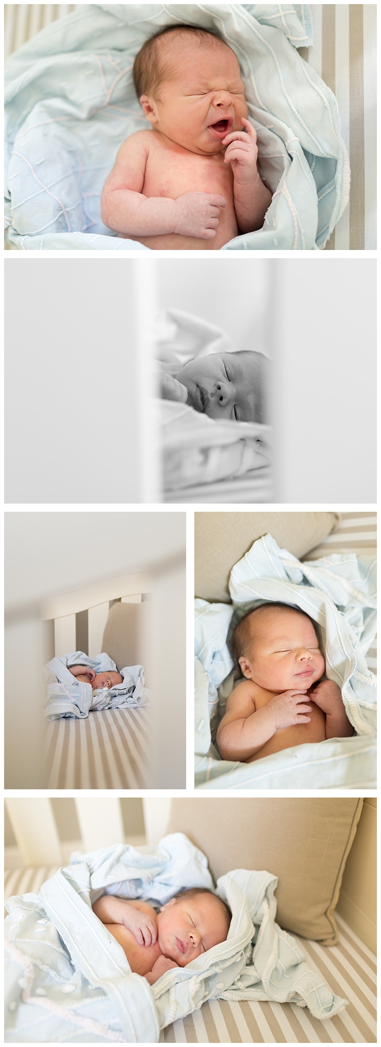newborn baby boy yawning and sleeping in crib