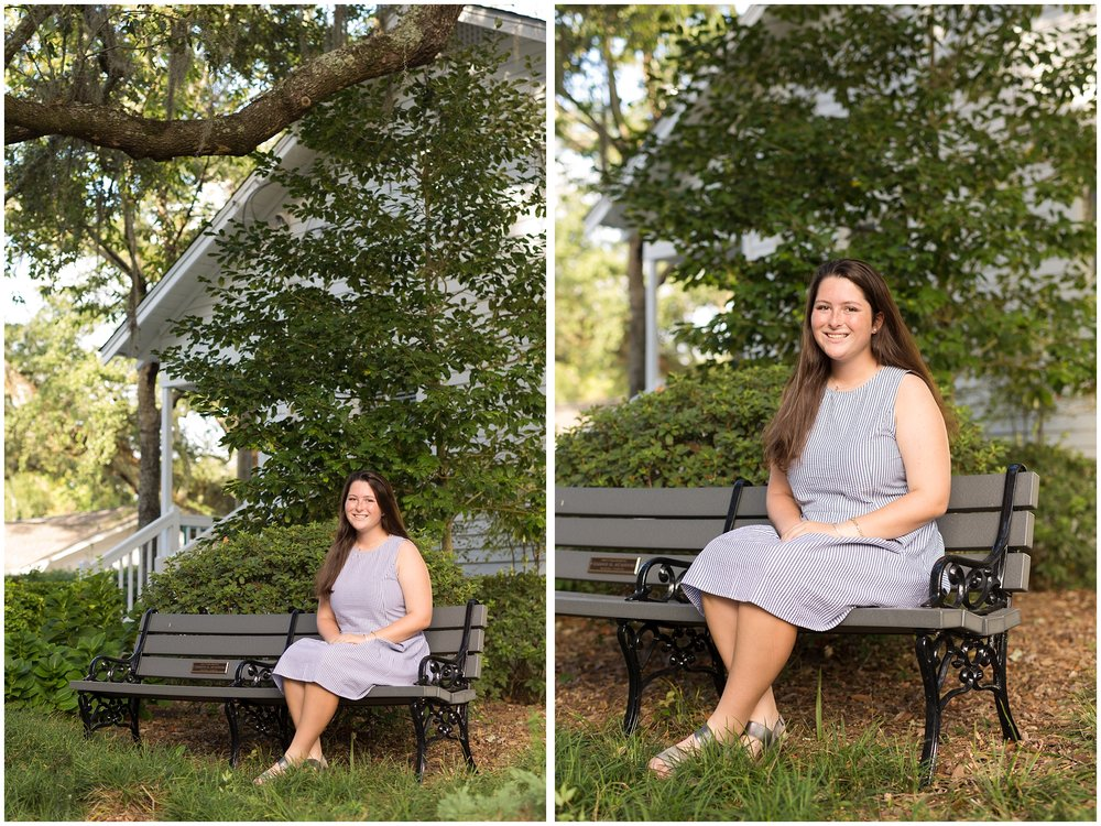 Senior Portrait with girl on bench at First Presbyterian Church in Ocean Springs