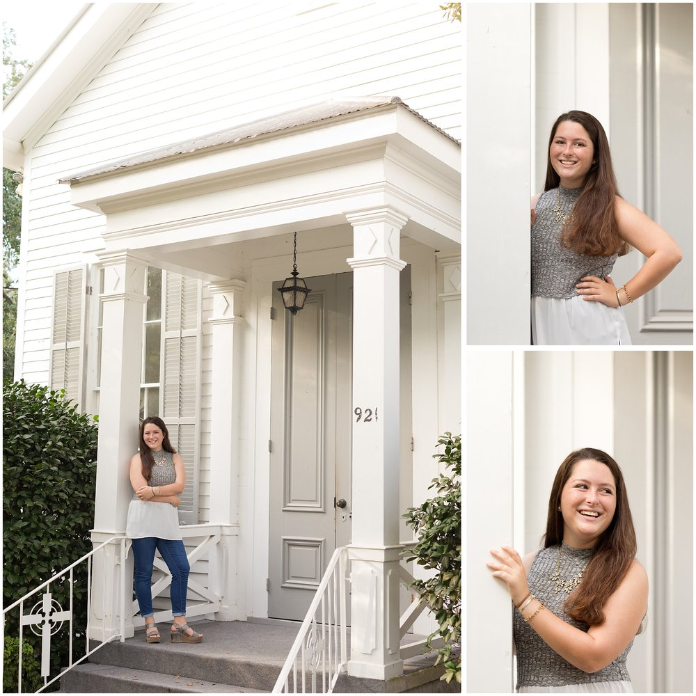 senior portraits at old chapel of First Presbyterian church Ocean Springs