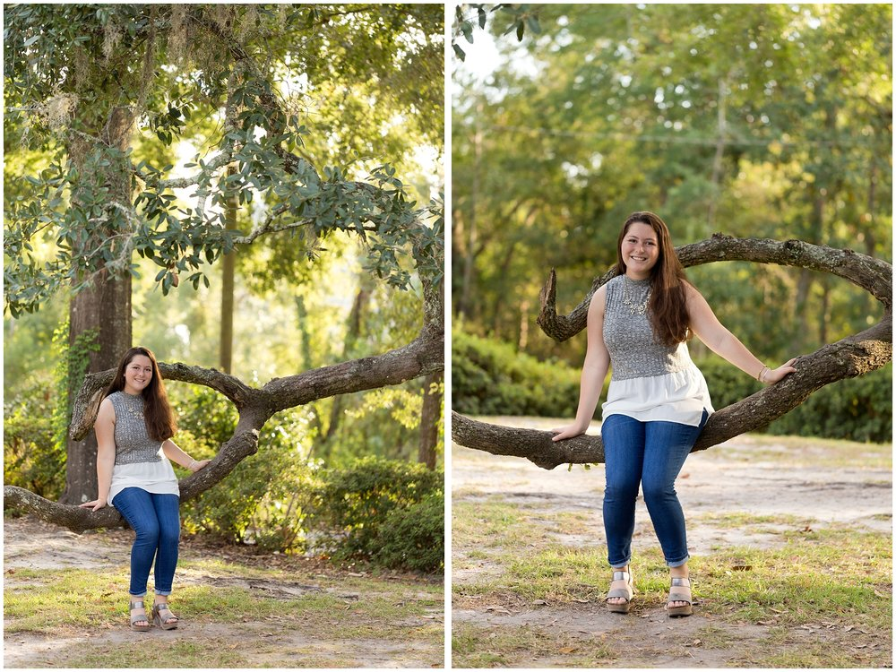 senior girl sitting in live oak tree (Mississippi Gulf Coast senior portraits)