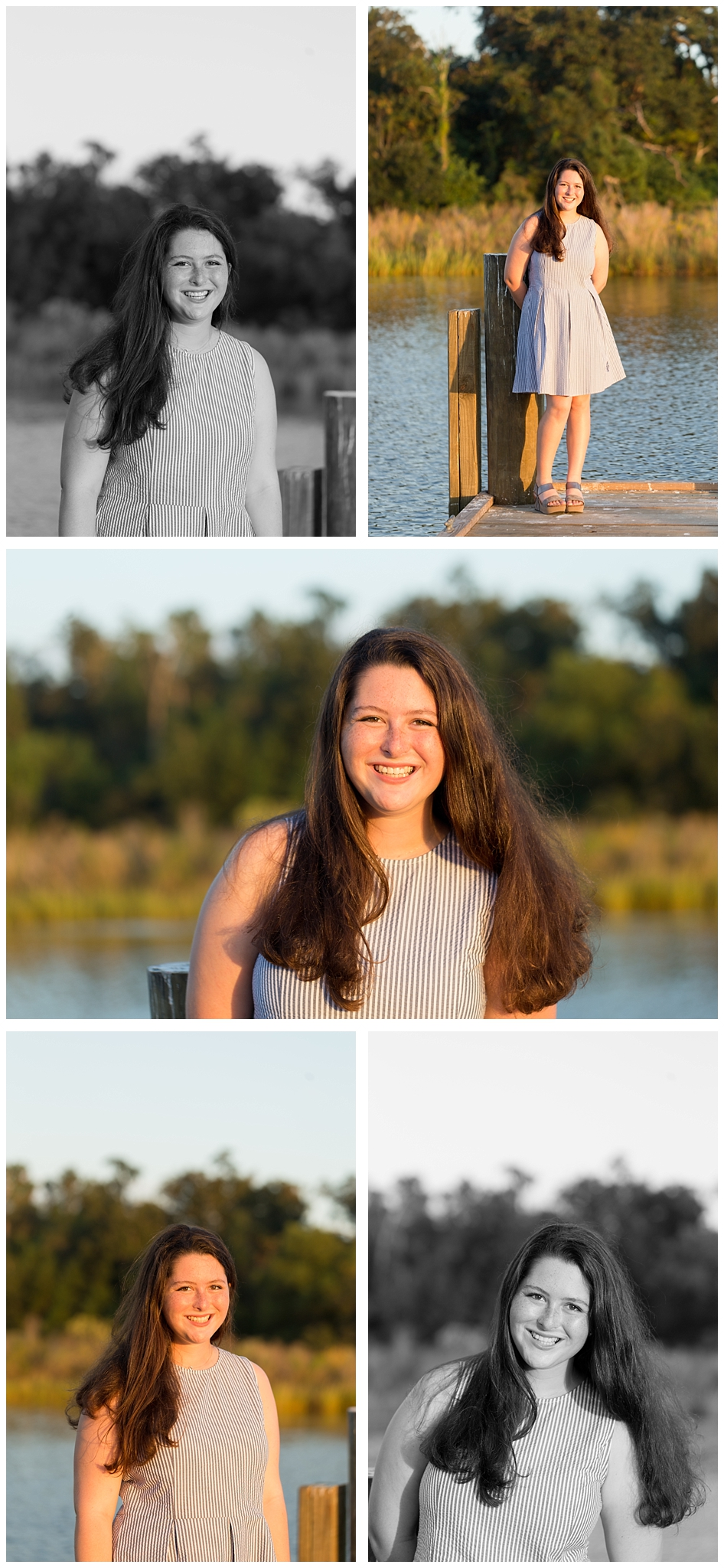 senior portrait photographs on dock (color and black and white)