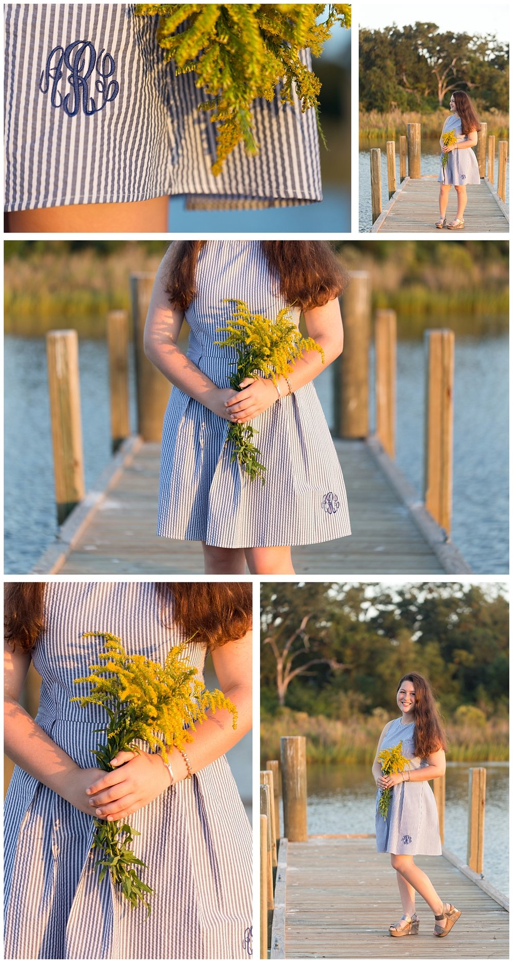coastal senior portrait session with goldenrod on dock, monogrammed dress
