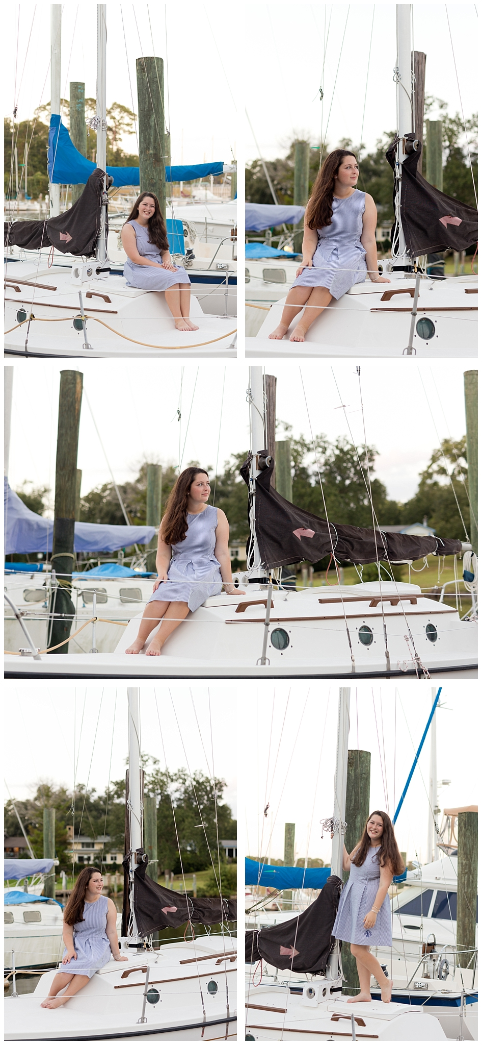 nautical senior portrait session with sailboat yacht (Ocean Springs, Mississippi harbor)