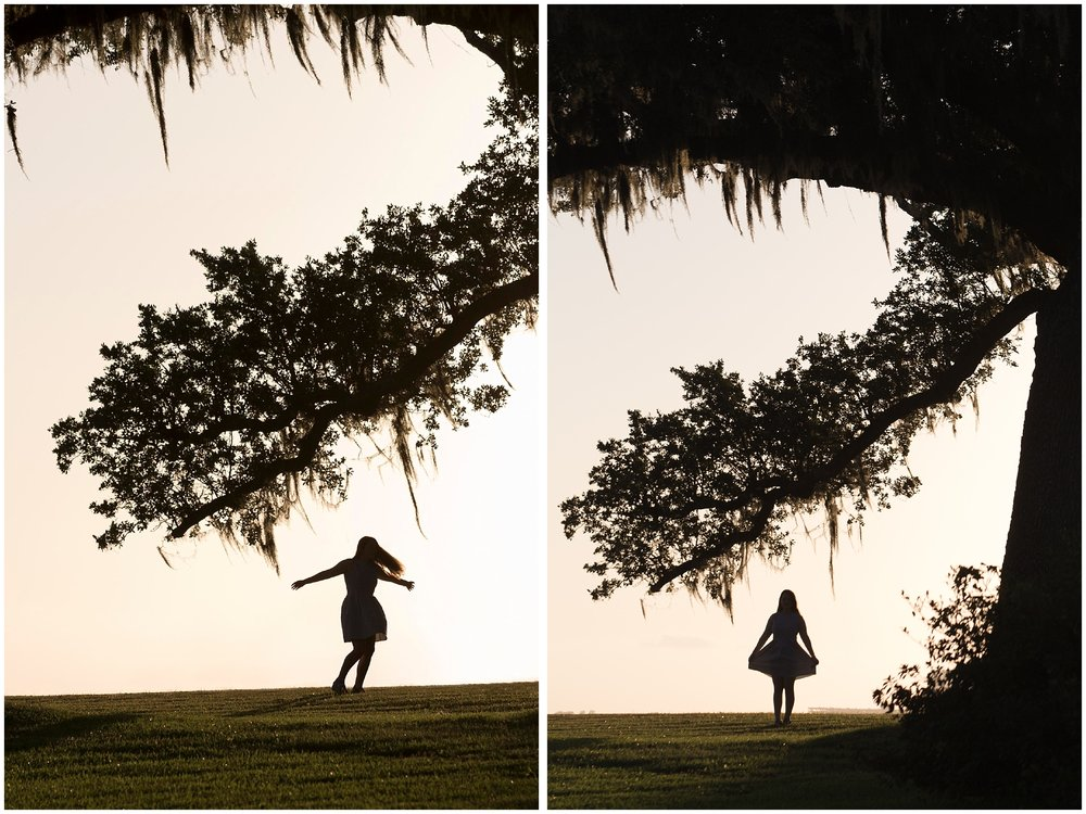 whimsical silhouette images as senior portraits (girl in dress with live oak branches)