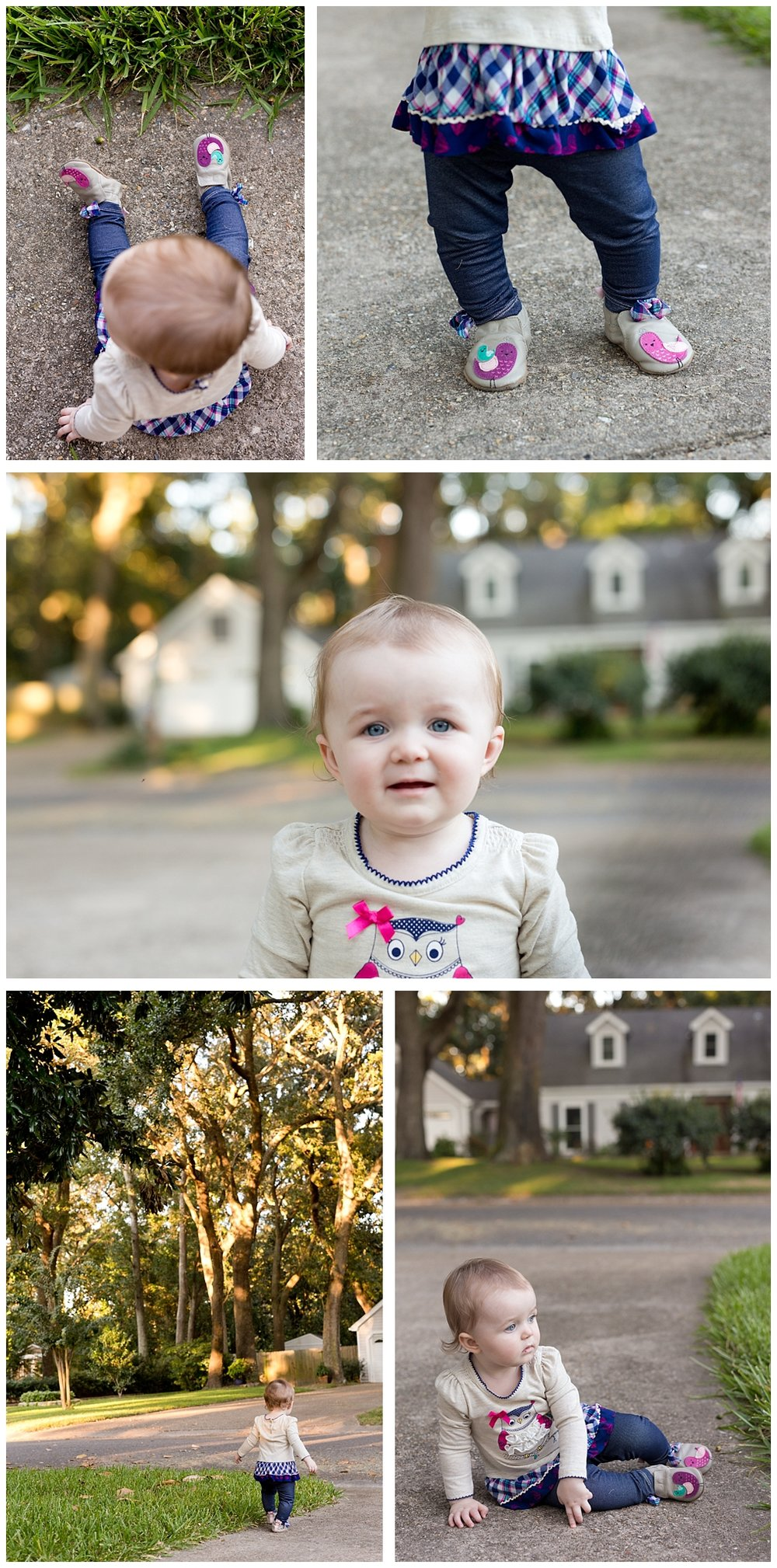 one year old girl with owl outfit and Robeez shoes with birds