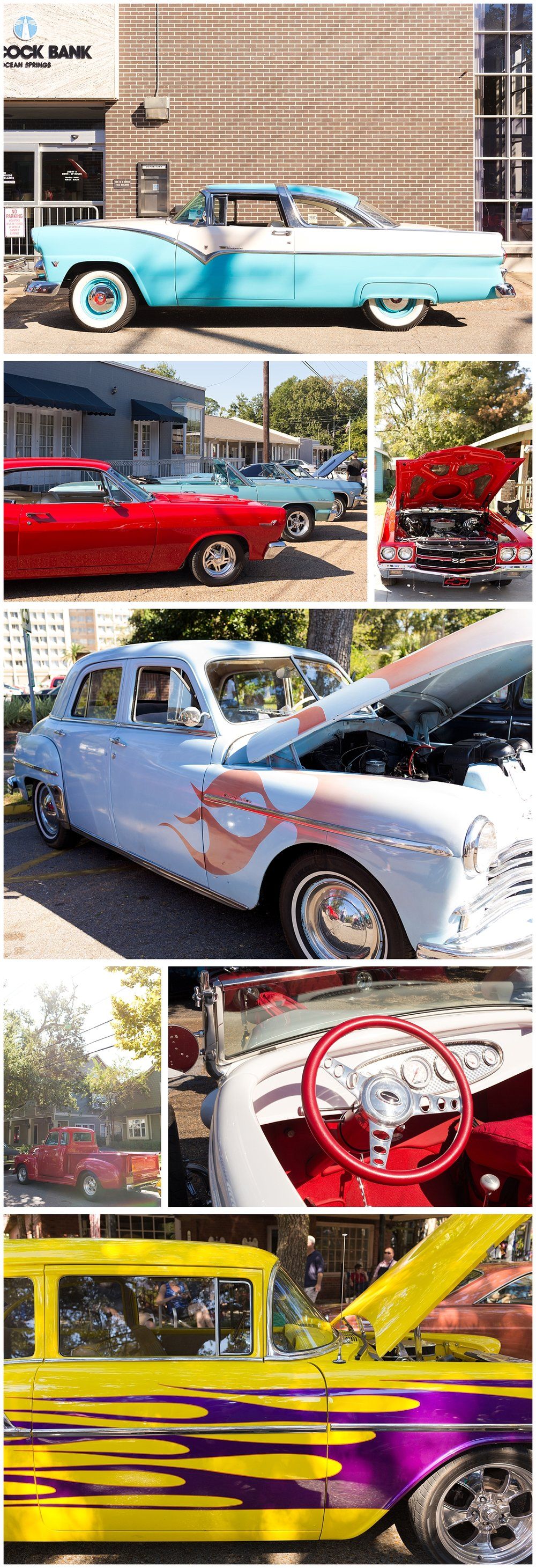 colorful antique cars at Cruisin' the Coast in Ocean Springs