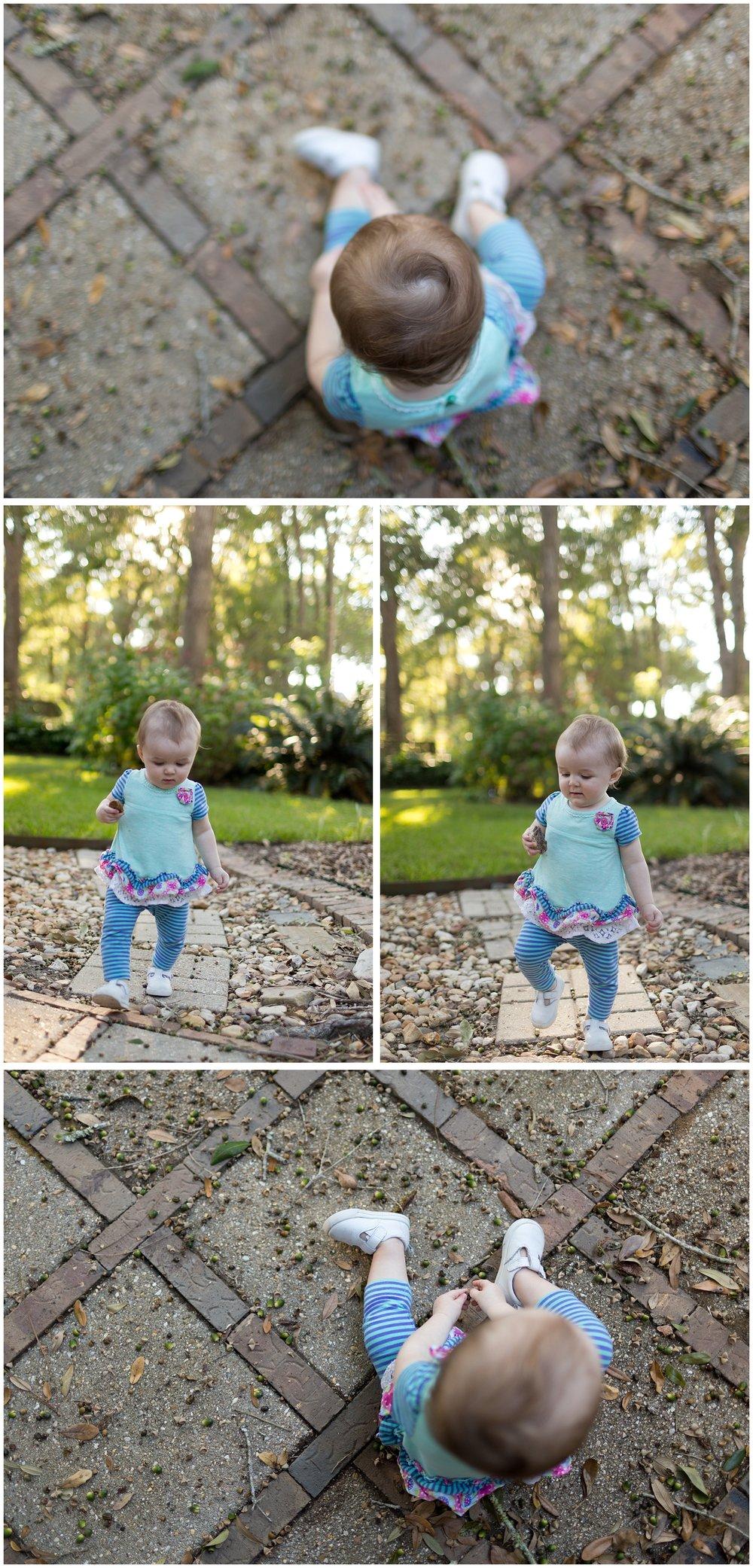 toddler girl playing in backyard