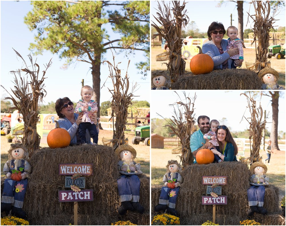 family photos at pumpkin patch