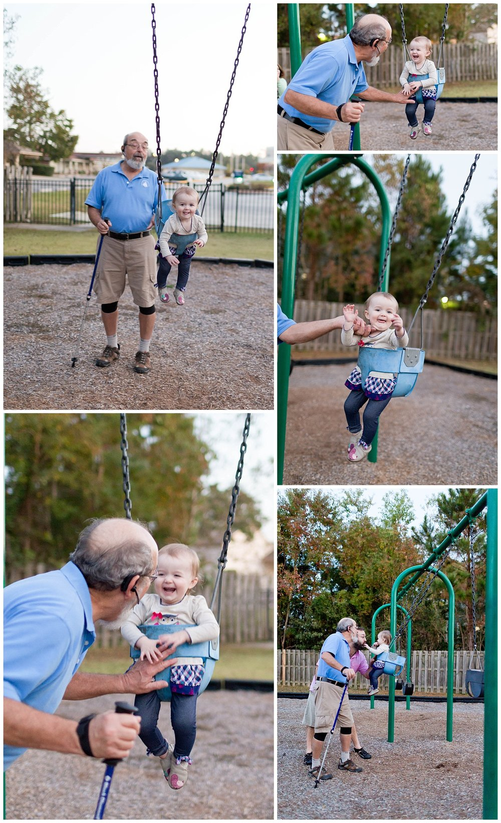 toddler girl with dad and grandpa on swings at park (Fort Bayou, Ocean Springs)