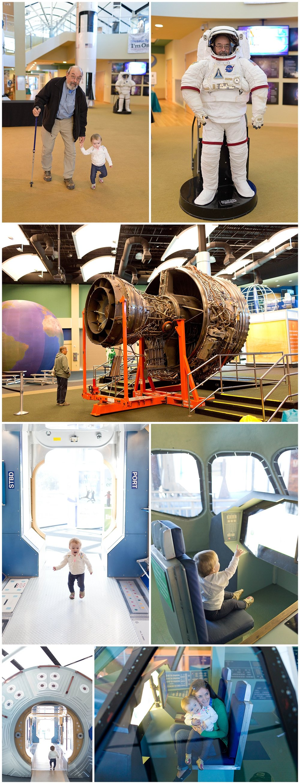 inside Stennis Space Center museum with astronaut and space shuttle exhibits