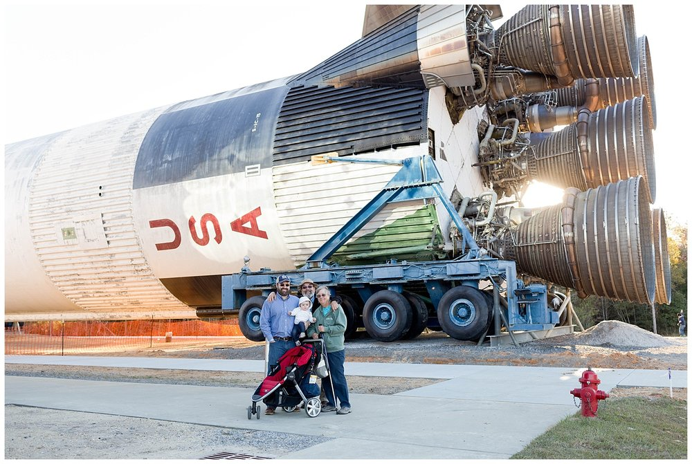 family photo with rocket at Stennis Space Center Mississippi