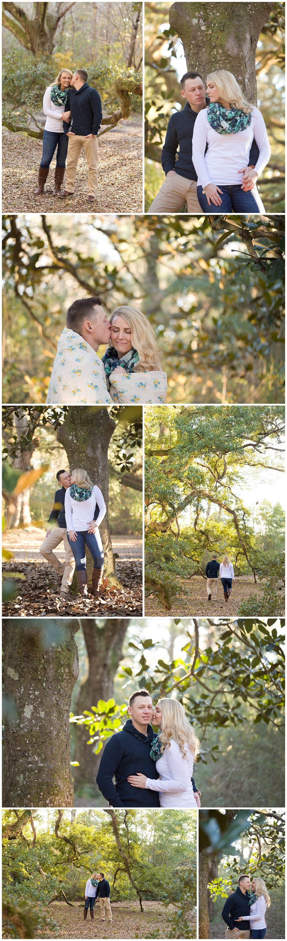 romantic engagement photos in the woods (Ocean Springs, Mississippi - Uninvented Colors Photography)