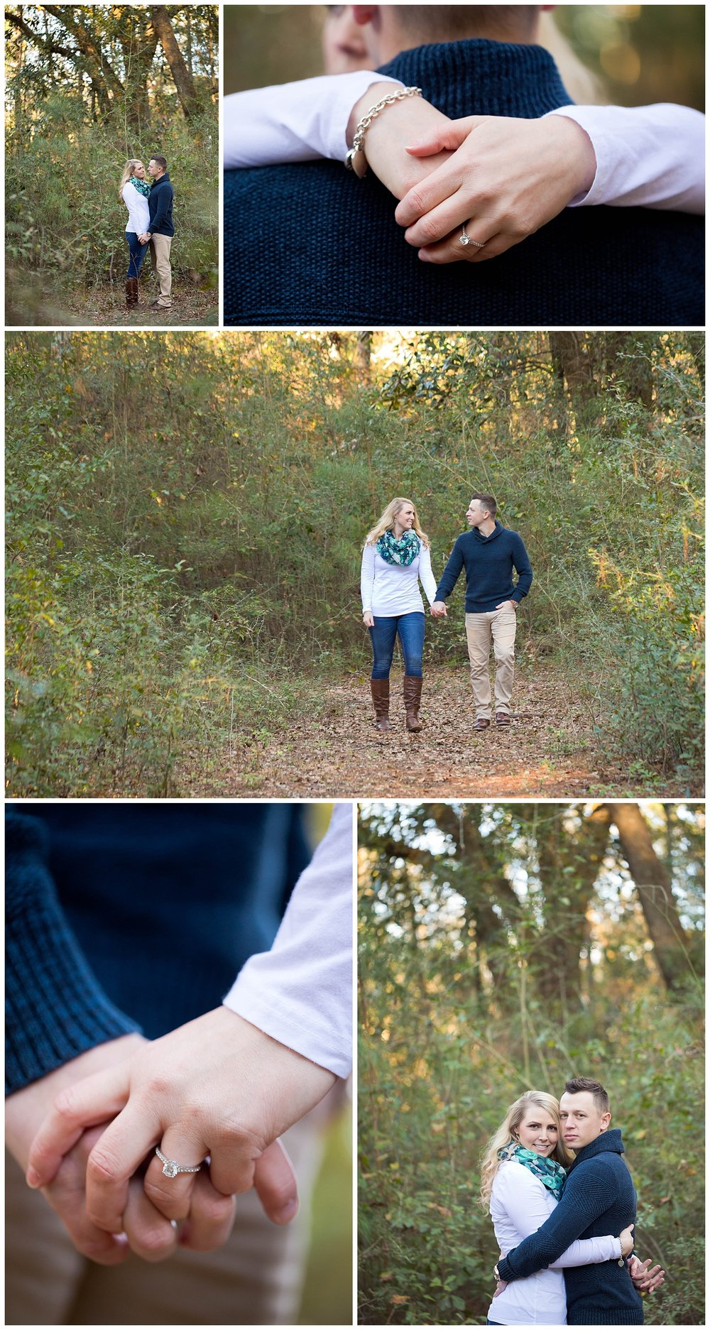 engagement photos on nature trail in Ocean Springs, Mississippi, with shots of diamond engagement ring