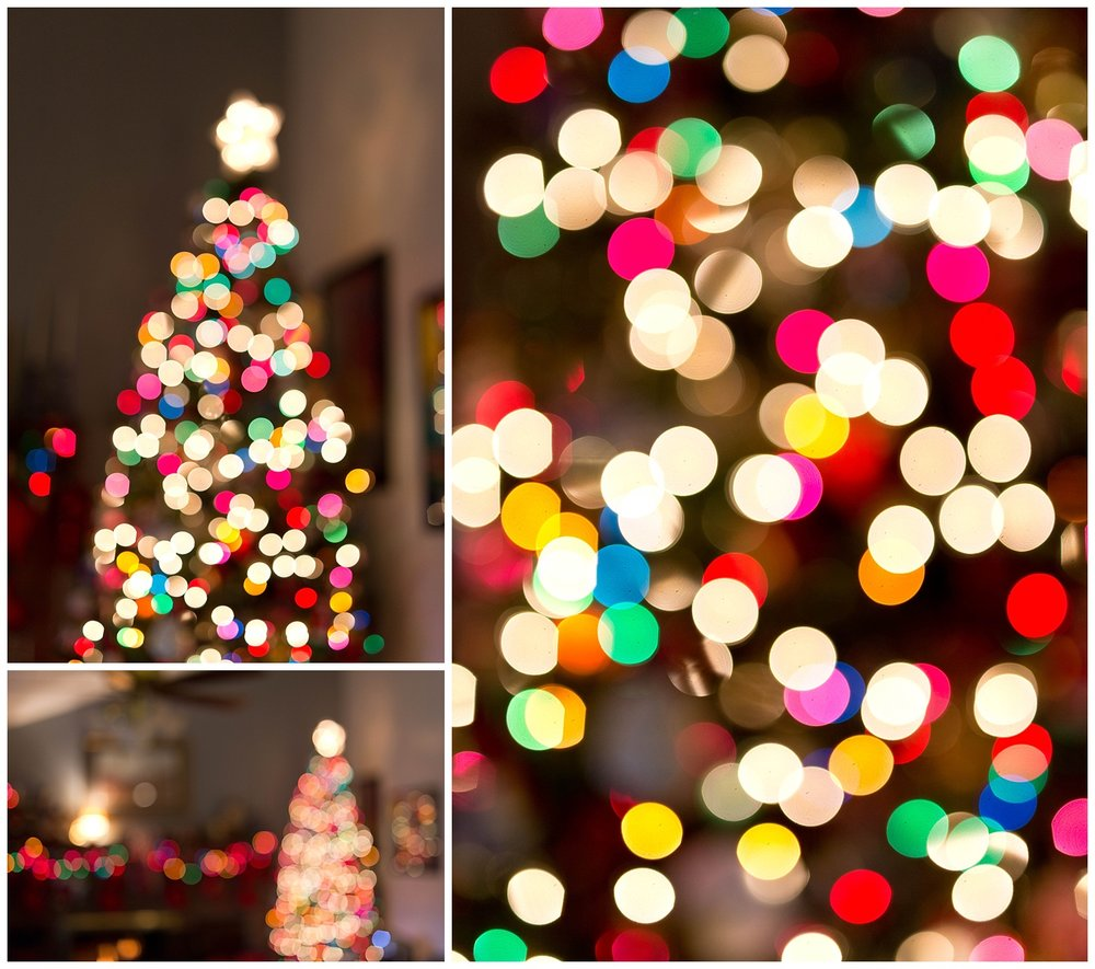 Christmas tree bokeh with colorful lights