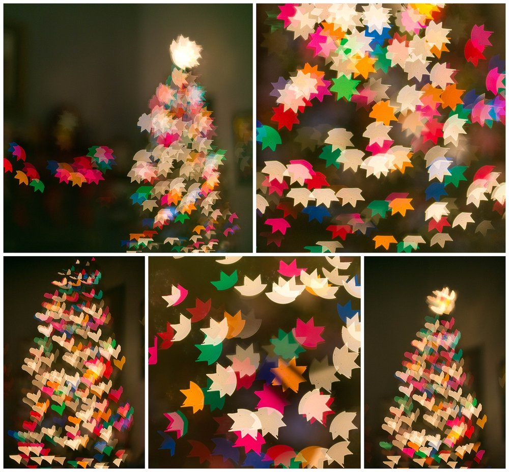 heart and star-shaped bokeh with colorful Christmas lights (abstract art by Uninvented Colors Photography)