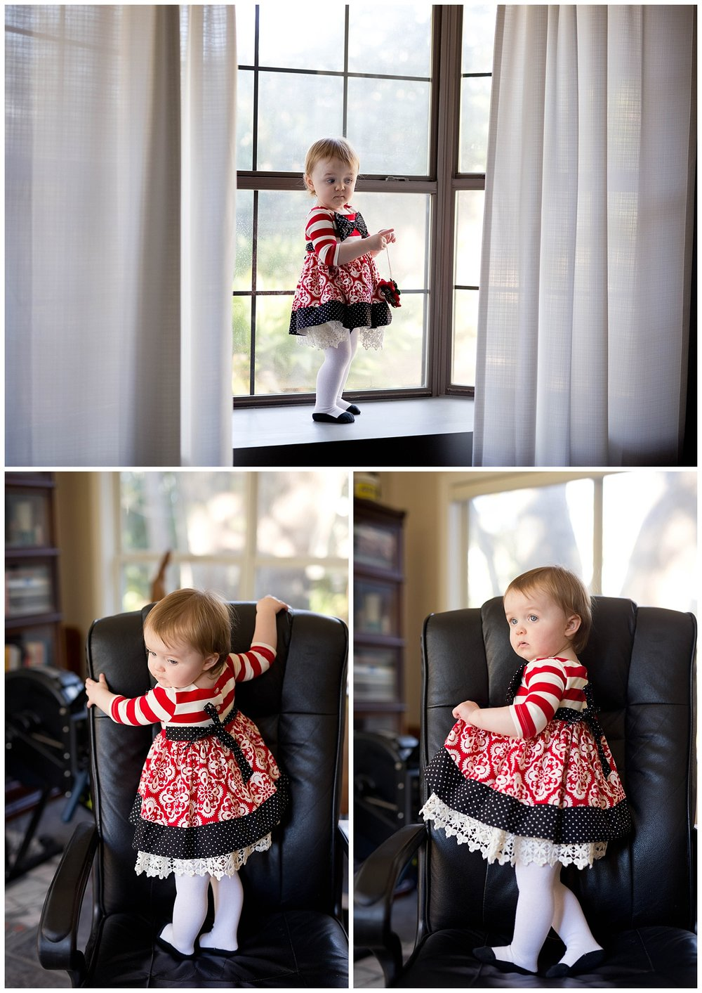 cute toddler girl playing at home in fancy red dress