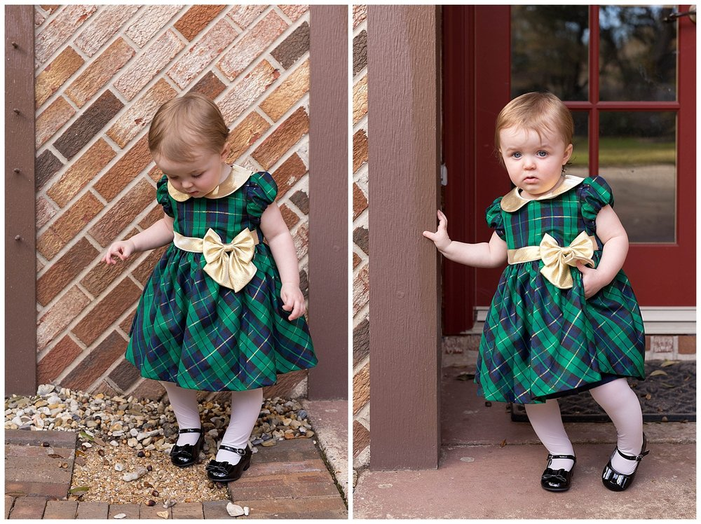 toddler girl in fancy green plaid dress