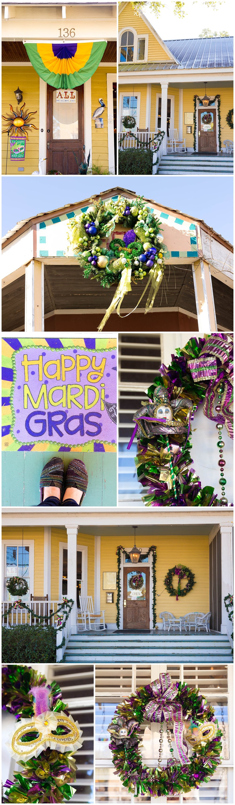 Mardi Gras decorations in Bay St. Louis, Mississippi