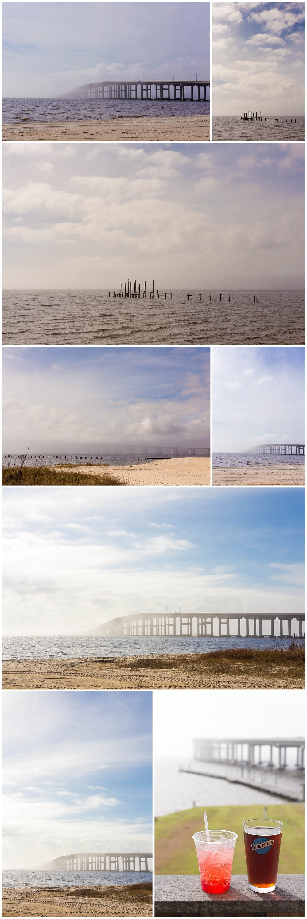 foggy day on Ocean Springs Front Beach with bridge and drinks at yacht club (OSYC)