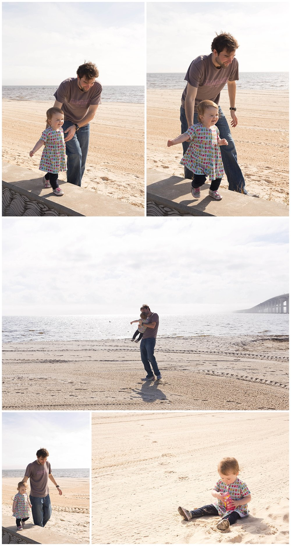 toddler girl walking and playing on beach with uncle