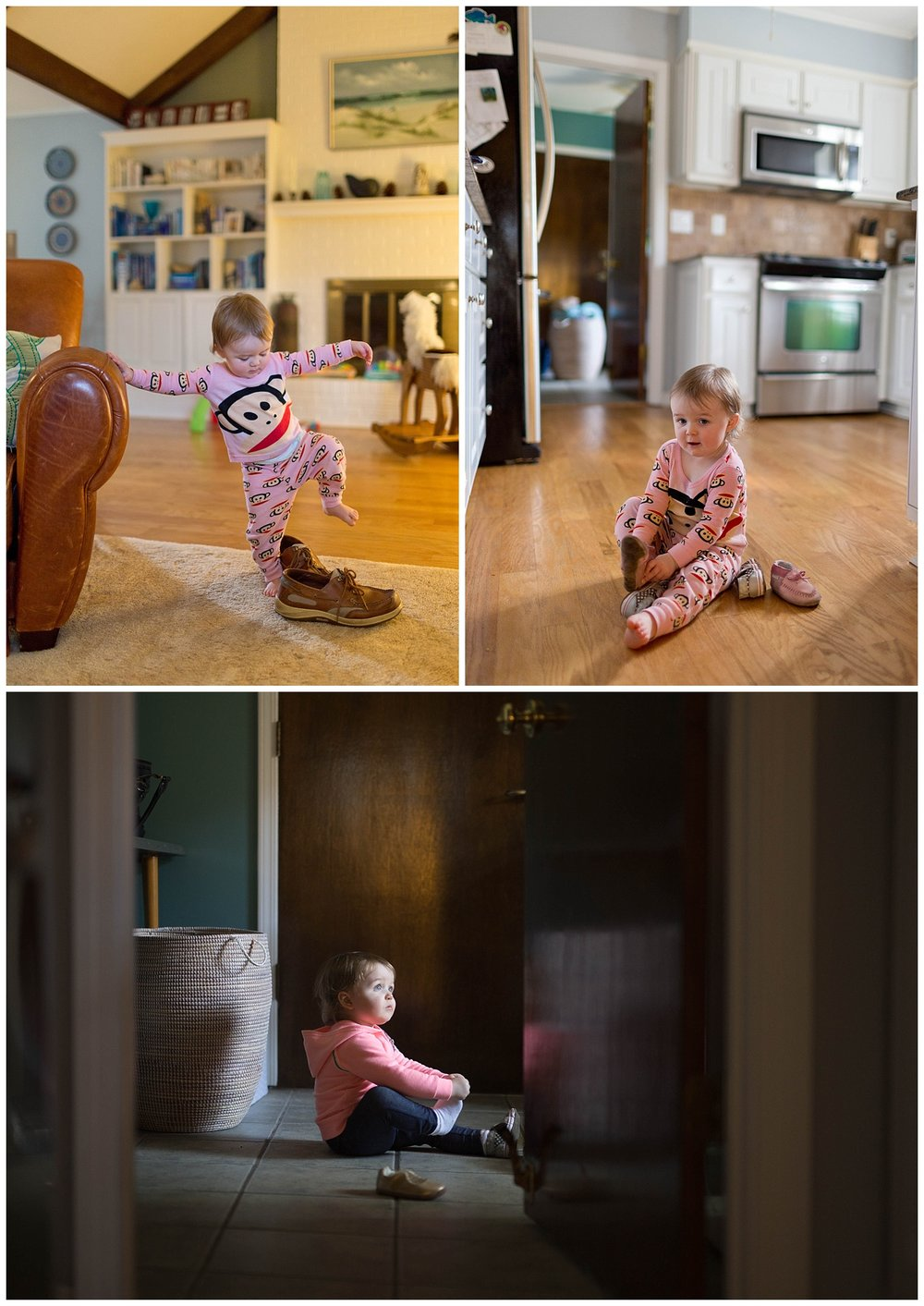 Ocean Springs in-home lifestyle photographer (toddler girl playing with shoes)