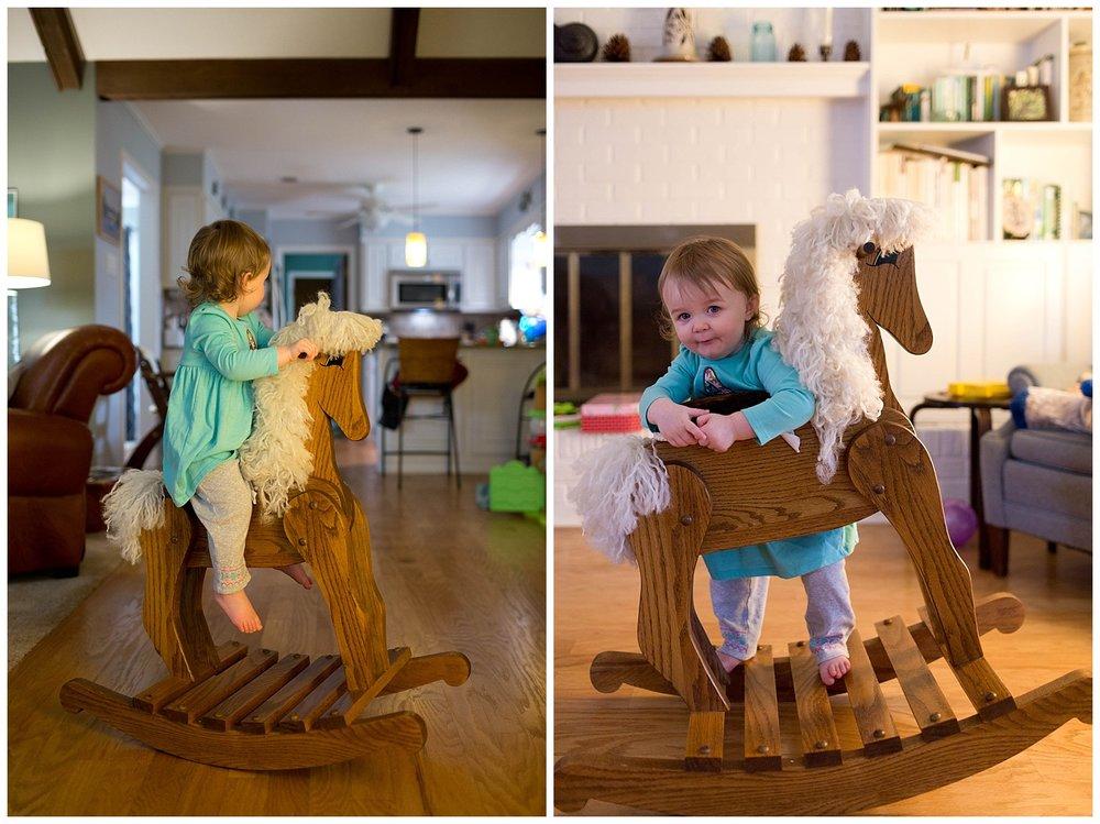 little girl on rocking horse (Ocean Springs lifestyle photographer)