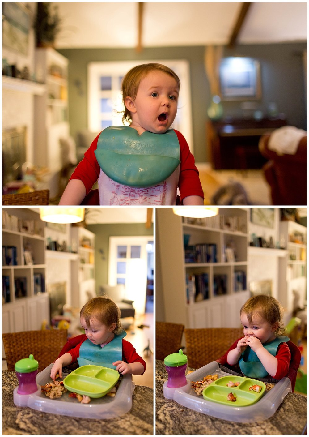 toddler eating with bib and sippy cup