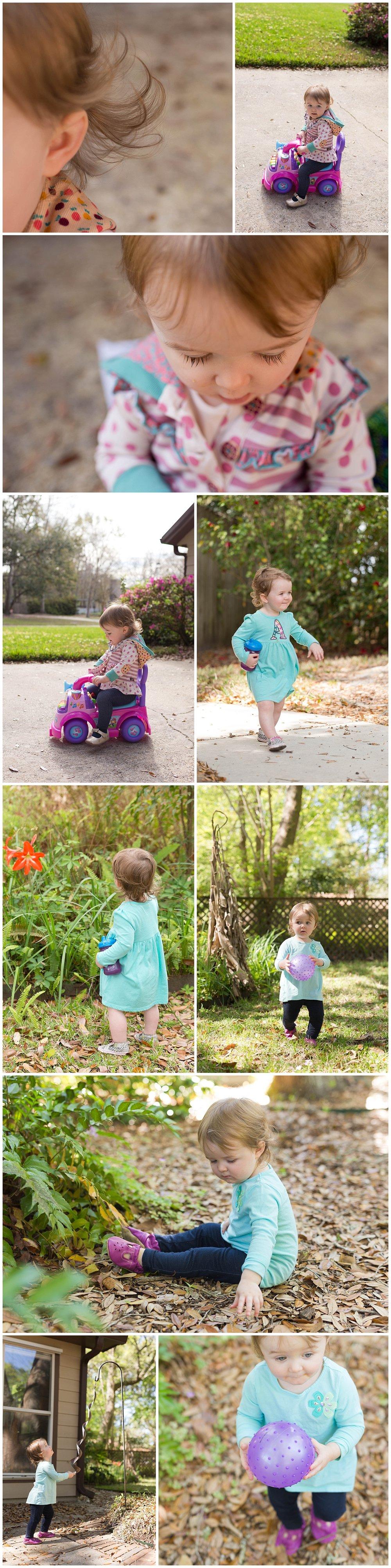 little girl playing outside in Ocean Springs, Mississippi