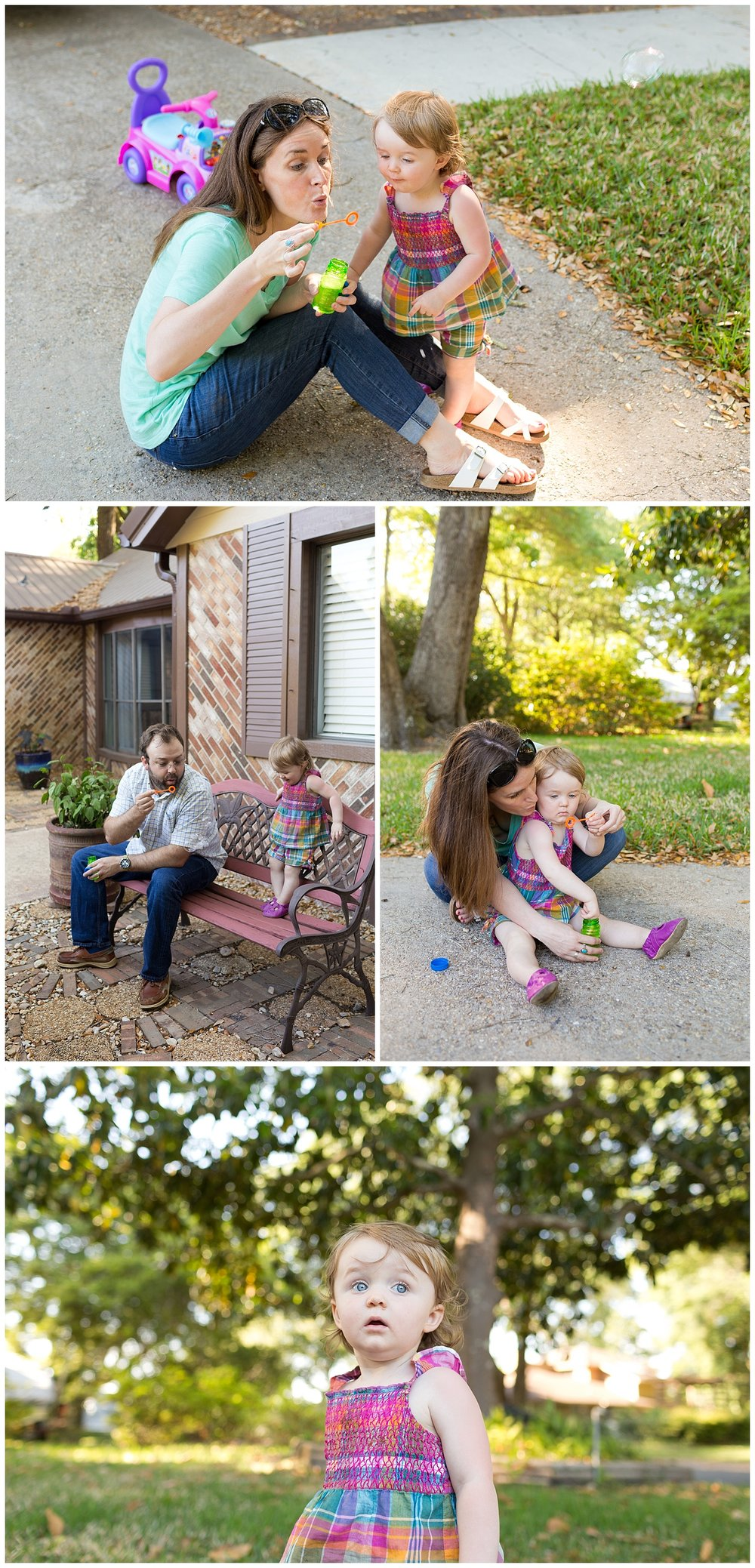 Ocean Springs family lifestyle photographer - parents blowing bubbles with toddler daughter