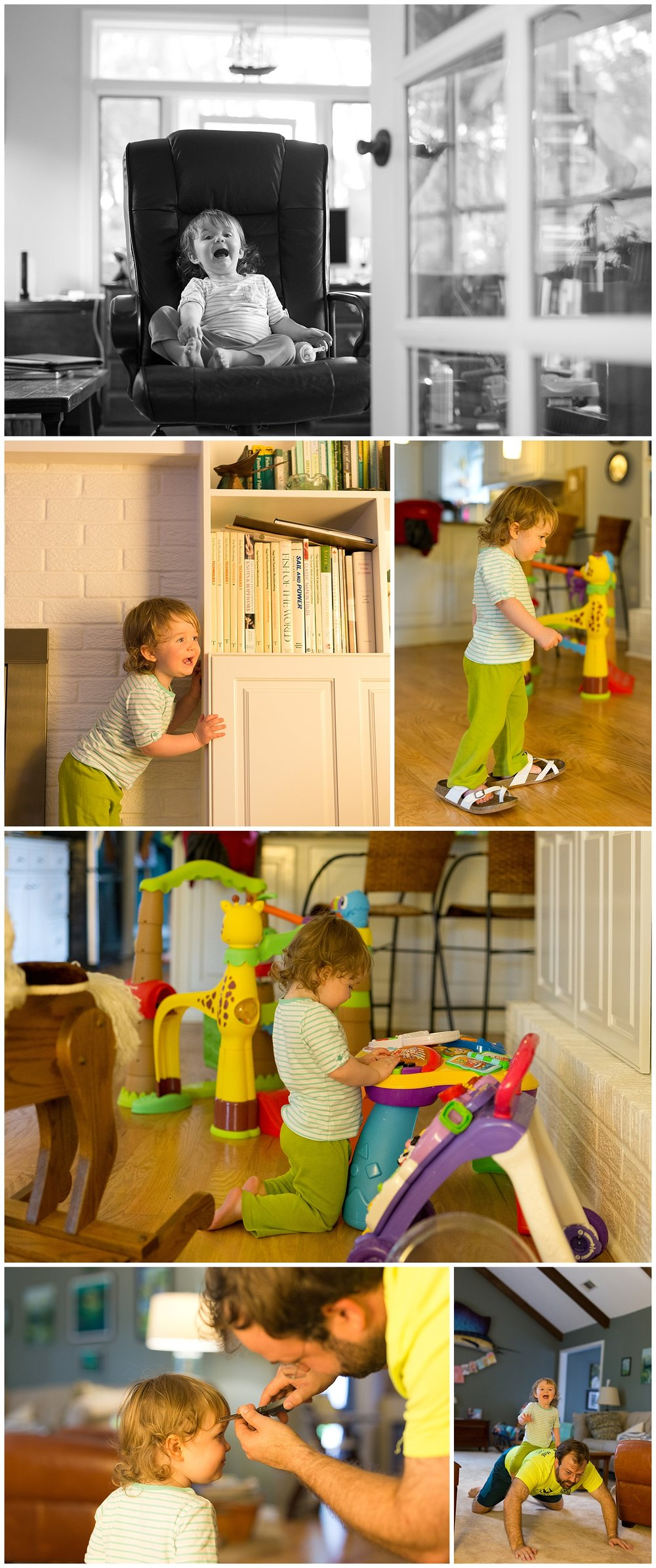 toddler playing in house